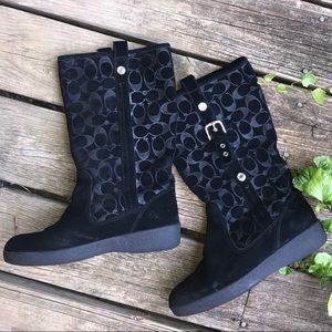 Coach black winter tall calf fur boots